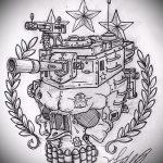 Прикольный пример эскиза тату армейская – рисунок подойдет для армейские татуировки пехота