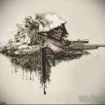 Оригинальный пример эскиза татуировки армейская – рисунок подойдет для армейские татуировки вв мвд