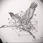 Зачетный вариант эскиза тату АИСТ – рисунок подойдет для тату аист на запястье
