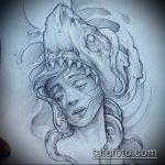 Уникальный пример эскиза тату АКУЛА – рисунок подойдет для тату акулы плече