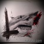 Оригинальный вариант эскиза наколки АКУЛА – рисунок подойдет для тату акула олд скул
