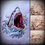 Интересный вариант эскиза тату АКУЛА – рисунок подойдет для тату акула молот