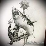 Зачетный пример эскиза татуировки АКУЛА – рисунок подойдет для тату акула спине