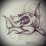 Крутой пример эскиза наколки АКУЛА – рисунок подойдет для тату акулы плече