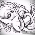 Классный вариант эскиза тату АКУЛА – рисунок подойдет для тату акула шее