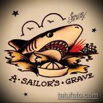 Крутой вариант эскиза наколки АКУЛА – рисунок подойдет для тату акула спине
