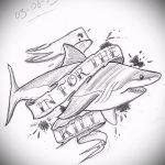 Интересный пример эскиза татуировки АКУЛА – рисунок подойдет для тату акула олд скул