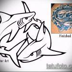 Зачетный вариант эскиза наколки АКУЛА – рисунок подойдет для пасть акулы тату