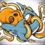 Прикольный вариант эскиза татуировки АКУЛА – рисунок подойдет для тату акулы ноге