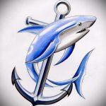 Интересный вариант эскиза наколки АКУЛА – рисунок подойдет для тату акула на руке