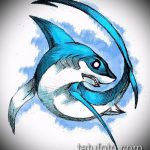 Зачетный вариант эскиза наколки АКУЛА – рисунок подойдет для тату акула шее