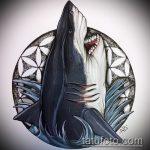 Уникальный вариант эскиза татуировки АКУЛА – рисунок подойдет для тату акула шее