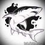 Интересный вариант эскиза татуировки АКУЛА – рисунок подойдет для тату акула олд скул