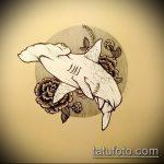 Уникальный пример эскиза наколки АКУЛА – рисунок подойдет для тату акулы плече