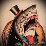 Прикольный вариант эскиза тату АКУЛА – рисунок подойдет для тату акула олд скул
