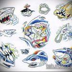 Интересный вариант эскиза тату АКУЛА – рисунок подойдет для тату акула спине