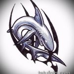Уникальный вариант эскиза татуировки АКУЛА – рисунок подойдет для тату акулы ноге