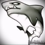 Уникальный пример эскиза наколки АКУЛА – рисунок подойдет для пасть акулы тату