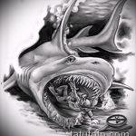 Оригинальный пример эскиза татуировки АКУЛА – рисунок подойдет для тату акула якоремтату акулы груди