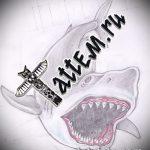Интересный вариант эскиза наколки АКУЛА – рисунок подойдет для трайбл тату акулы