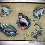 Классный вариант эскиза татуировки АКУЛА – рисунок подойдет для тату акулы плече