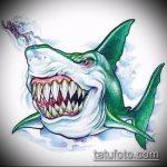Уникальный пример эскиза наколки АКУЛА – рисунок подойдет для тату акула спине