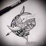 Крутой вариант эскиза татуировки АКУЛА – рисунок подойдет для тату акула шее