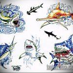 Прикольный пример эскиза тату АКУЛА – рисунок подойдет для тату акулы плече