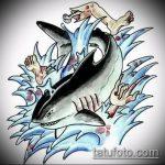 Прикольный вариант эскиза татуировки АКУЛА – рисунок подойдет для тату акула якоремтату акулы груди