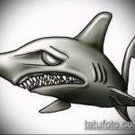 Зачетный вариант эскиза тату АКУЛА – рисунок подойдет для тату акула на руке