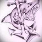 Интересный вариант эскиза татуировки АКУЛА – рисунок подойдет для пасть акулы тату