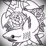 Интересный вариант эскиза наколки АКУЛА – рисунок подойдет для тату акула шее