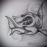 Оригинальный вариант эскиза татуировки АКУЛА – рисунок подойдет для пасть акулы тату