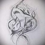 Крутой вариант эскиза тату АКУЛА – рисунок подойдет для тату акулы плече