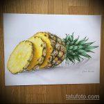 Оригинальный пример эскиза наколки АНАНАС – рисунок подойдет для тату ананаса на ноге