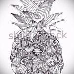 Интересный вариант эскиза татуировки АНАНАС – рисунок подойдет для тату ананас щиплет язык
