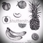Прикольный пример эскиза тату АНАНАС – рисунок подойдет для тату ананас на руке