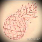 Уникальный пример эскиза тату АНАНАС – рисунок подойдет для тату ананас на пояснице