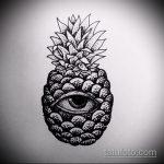 Прикольный вариант эскиза татуировки АНАНАС – рисунок подойдет для tattoo ananas