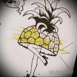 Зачетный пример эскиза наколки АНАНАС – рисунок подойдет для тату ананас щиплет язык
