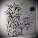 Крутой вариант эскиза наколки АНАНАС – рисунок подойдет для тату ананас на шее