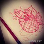 Классный пример эскиза татуировки АНАНАС – рисунок подойдет для тату ананас на запястье