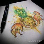 Интересный пример эскиза татуировки АНАНАС – рисунок подойдет для тату ананас на запястье