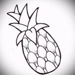Оригинальный пример эскиза татуировки АНАНАС – рисунок подойдет для тату ананас на шее