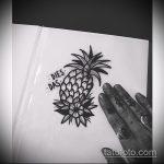 Интересный пример эскиза наколки АНАНАС – рисунок подойдет для тату ананас на руке