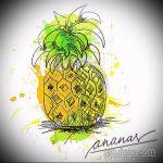 Зачетный вариант эскиза татуировки АНАНАС – рисунок подойдет для тату ананас на бедре