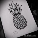 Уникальный вариант эскиза наколки АНАНАС – рисунок подойдет для тату ананас на пояснице