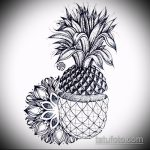 Крутой пример эскиза тату АНАНАС – рисунок подойдет для тату ананас акварель