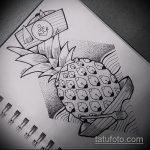 Прикольный пример эскиза татуировки АНАНАС – рисунок подойдет для тату ананас щиплет язык