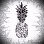 Оригинальный вариант эскиза тату АНАНАС – рисунок подойдет для тату ананас на шее